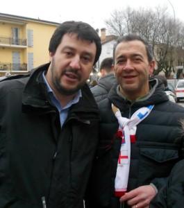 Renato Borgatti consultore di Corporeno a dx. foto in compagnia di Matteo Salvini segretario Lega Nord