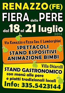Renazzo , frazione impegnata ed attiva: tante iniziative e una Fiera delle Pere all' avanguardia ma dal sapore tradizionale.